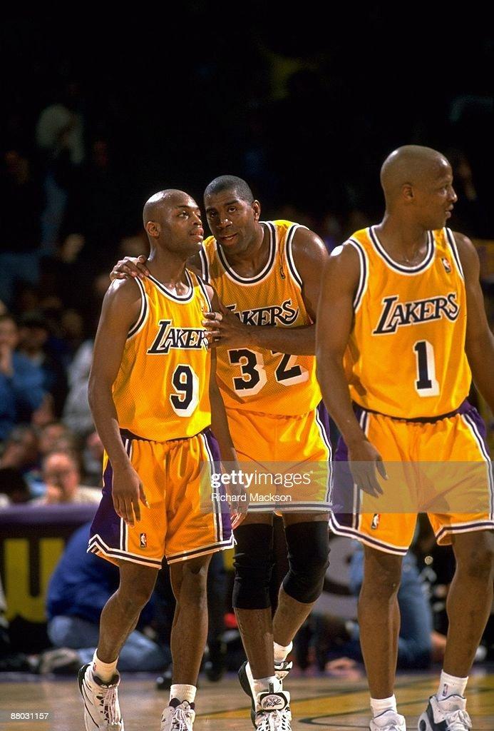 Los Angeles Lakers Magic Johnson and Nick Van Exel during ...