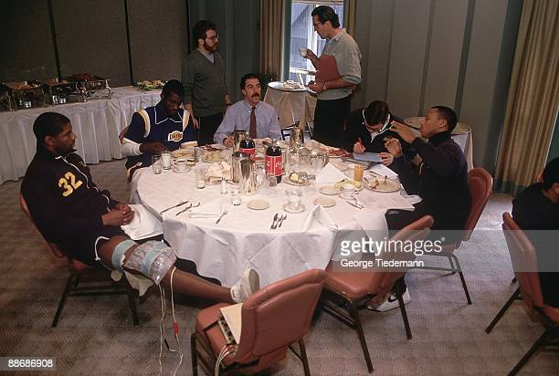 Los Angeles Lakers Magic Johnson during brunch at Westin Hotel before game vs Chicago Bulls Chicago IL 1/20/1986 CREDIT George Tiedemann