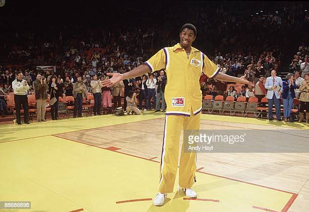 Los Angeles Lakers Magic Johnson during player introductions before game vs New Jersey Nets Johnson's return to NBA after sustaining torn cartilage...