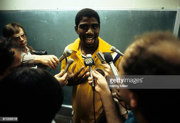 Los Angeles Lakers Magic Johnson with media after game vs San Antonio Spurs Inglewood CA CREDIT Manny Millan