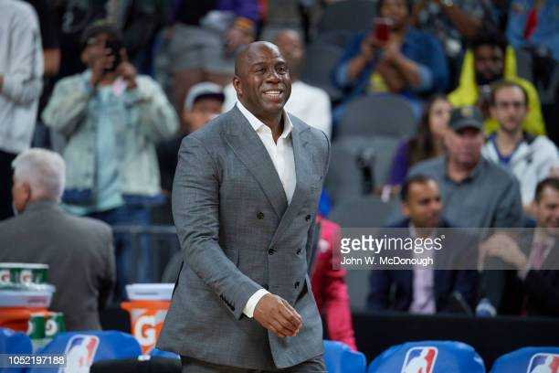 Los Angeles Lakers president of basketball operations Magic Johnson before preseason game vs Golden State Warriors at T Mobile Arena Las Vegas NV...