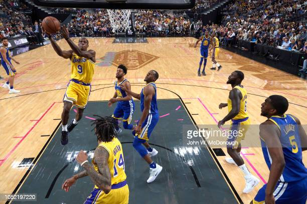 Los Angeles Lakers Rajon Rondo in action vs Golden State Warriors during preseason game at T Mobile Arena Las Vegas NV CREDIT John W McDonough
