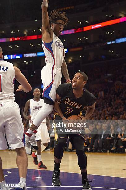 Los Angeles Lakers Xavier Henry in action vs Los Angeles Clippers Chris DouglasRoberts at Staples Center Los Angeles CA CREDIT John W McDonough