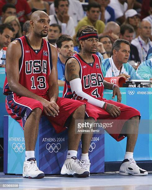 Basketball / Maenner Olympische Spiele Athen 2004 Athen USA Puerto RICO 7392 Tim DUNCAN Allen IVERSON / USA