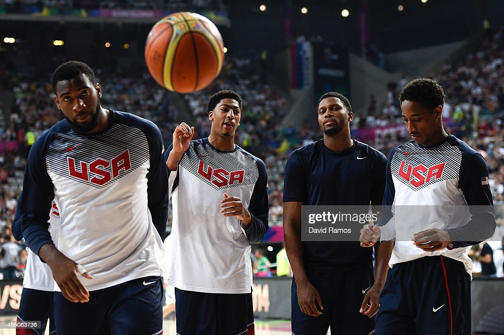 Basketball Men's National Team players warm up during 2014 FIBA Basketball World Cup quarter-final match between Lithuania and Turkey at Palau Sant Jordi on September 9, 2014 in Barcelona, Spain.