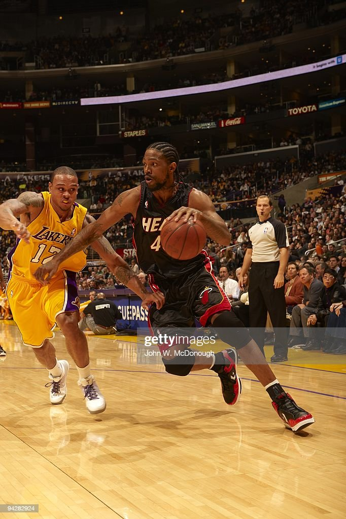 Miami Heat Udonis Haslem In Action Vs Los Angeles Lakers