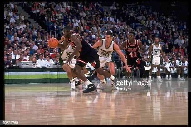 Miami Heat's Grant Long in action vs Milwaukee Bucks