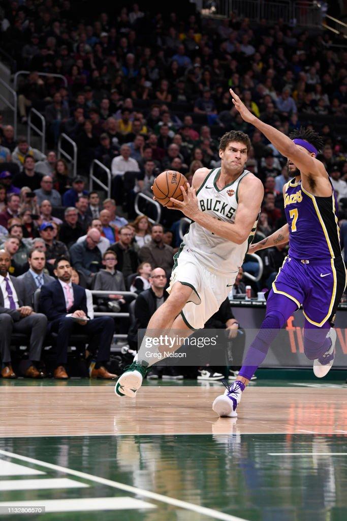 02ba370eda1 Milwaukee Bucks Brook Lopez in action vs Los Angeles Lakers at ...