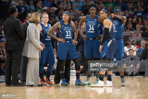 Minnesota Lynx coach Cheryl Reeve Lindsay Whalen Seimone Augustus Sylvia Fowles Maya Moore and Lynetta Kizer on court during game vs Los Angeles...