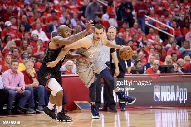Minnesota Timberwolves Nemanja Bjelica in action vs Houston Rockets PJ Tucker at Toyota Center Game 2 Houston TX CREDIT Greg Nelson