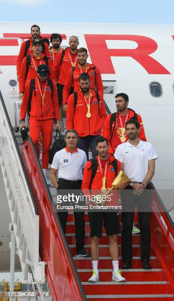 Basketball National Selection arrives at MadridBarajas Adolfo Suarez Airport after winning The World Cup championship on September 16 2019 in Madrid...