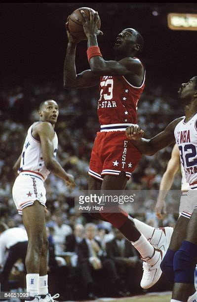 NBA All Star Game East Team Michael Jordan in action shot vs West Team Seattle WA 2/8/1987 CREDIT Andy Hayt