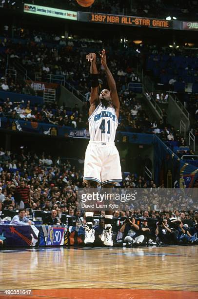 NBA AllStar Game Charlotte Hornets Glen Rice in action shot vs Team West during All Star Weekend at Gund Arena Rice wins MVP of game Cleveland OH...