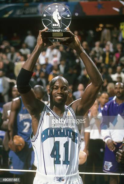 NBA AllStar Game Charlotte Hornets Glen Rice victorious with MVP Trophy after winning game vs Team West during All Star Weekend at Gund Arena...