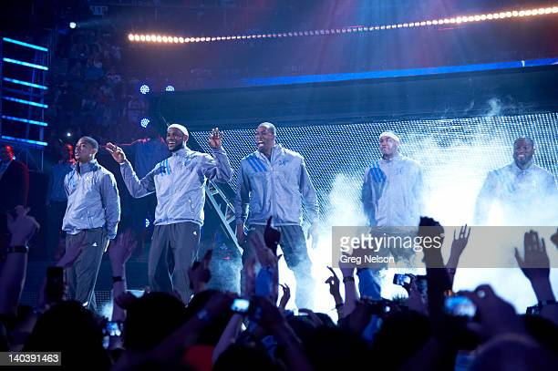 All-Star Game: East players Derrick Rose , LeBron James , Dwight Howard , Carmelo Anthony and Dwyane Wade during introductions before game vs West at...