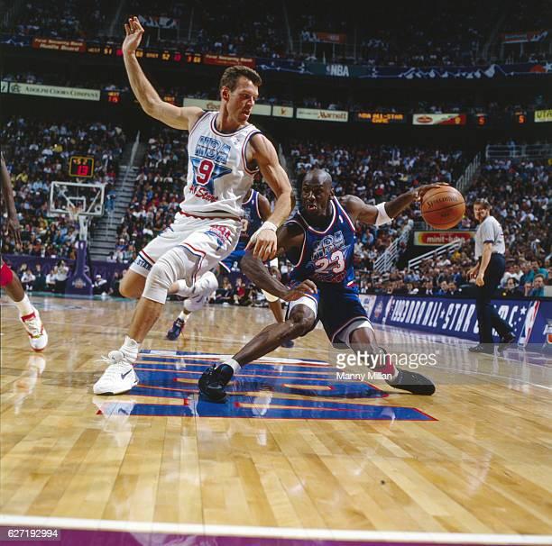 NBA AllStar Game Team East Michael Jordan in action vs Team West Dan Majerle during game at Delta Center Salt Lake City UT CREDIT Manny Millan