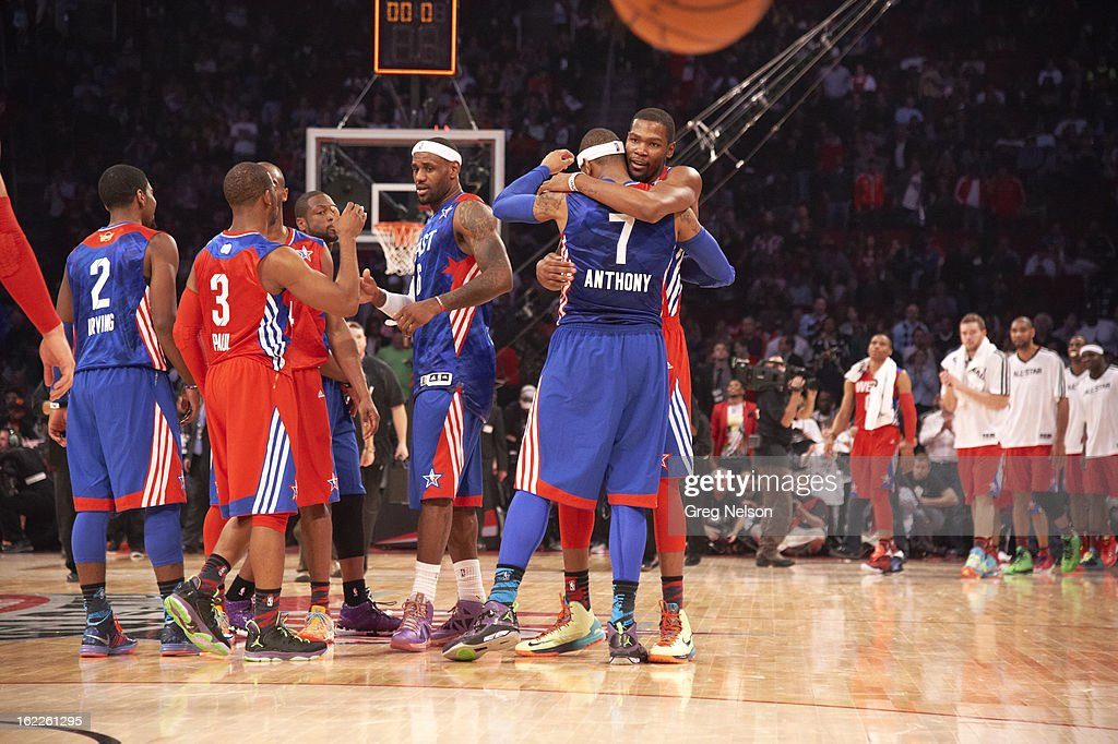 Team West Kevin Durant (35) and Team East Carmelo Anthony (7) of the New York Knicks embrace after game during All-Star Weekend at Toyota Center. Greg Nelson F442 )