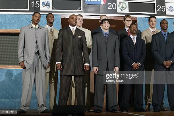 Basketball NBA Draft Carmelo Anthony Chris Bosh Jarvis Hayes Maciej Lampe Kirk Hinrich Darko Milicic TJ Ford Zarko Cabarkapa and Dwyane Wade at...