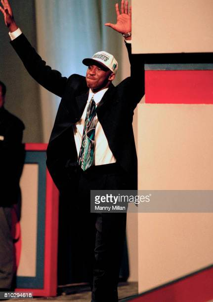 NBA Draft Charlotte Hornets No 13 pick Kobe Bryant victorious on stage after being selected East Rutherford NJ CREDIT Manny Millan