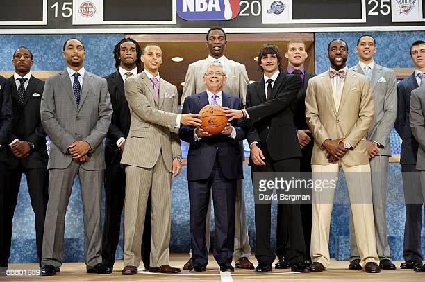 NBA Draft NBA commissioner David Stern with DeMar DeRozan Gerald Henderson Jordan Hill Stephen Curry Hasheem Thabeet Ricky Rubio Blake Griffin Austin...