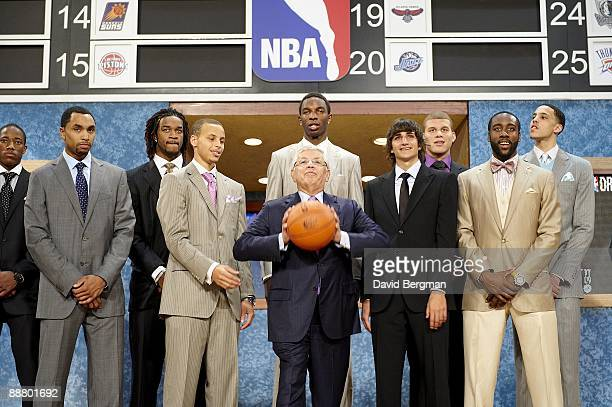 NBA Draft NBA commissioner David Stern with DeMar DeRozan Gerald Henderson Jordan Hill Stephen Curry Hasheem Thabeet Ricky Rubio Blake Griffin James...