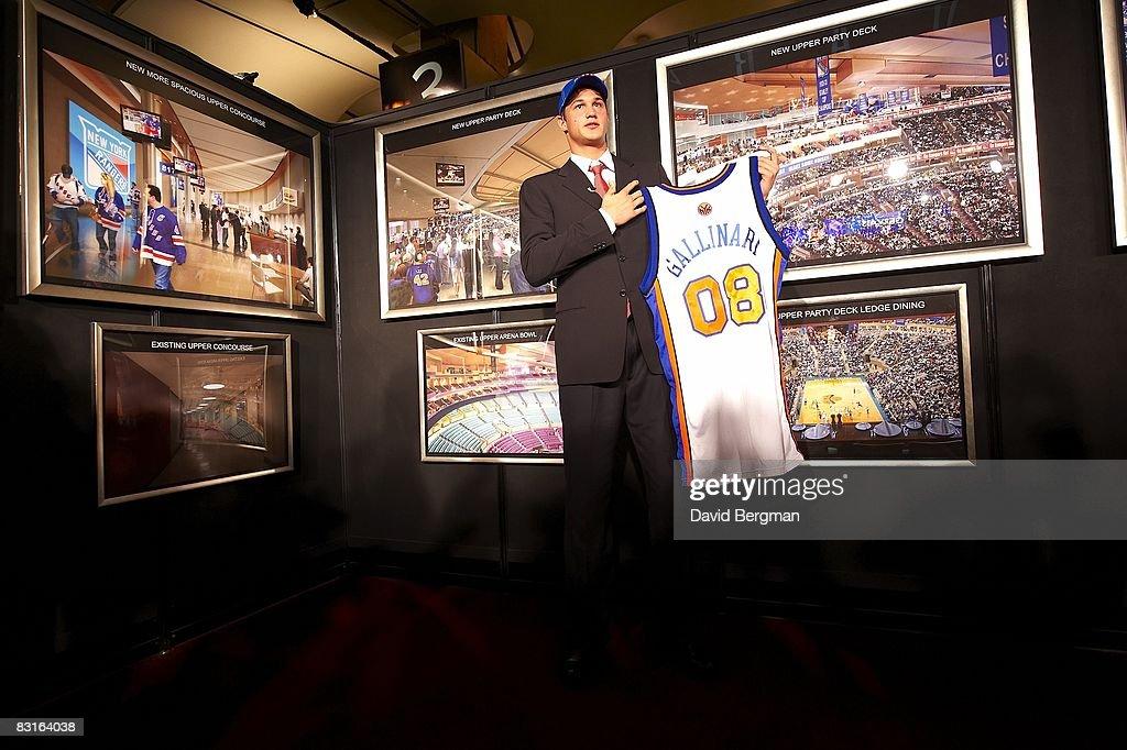 New York Knicks pick Danilo Gallinari holding up jersey during draft at Madison Square Garden. New York, NY 6/26/2008