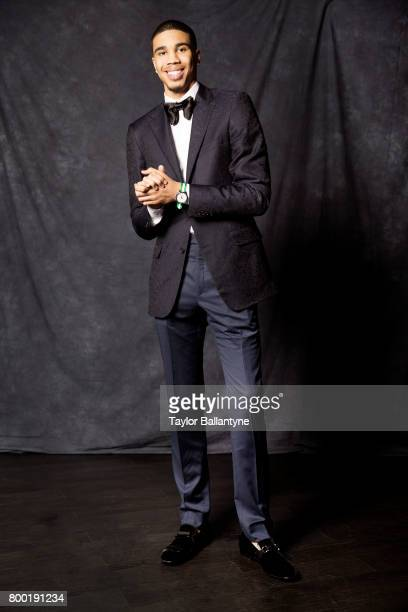 NBA Draft Portrait of Boston Celtics No 3 pick Jayson Tatum posing during photo shoot after selection process at Barclays Center Behind the Scenes...