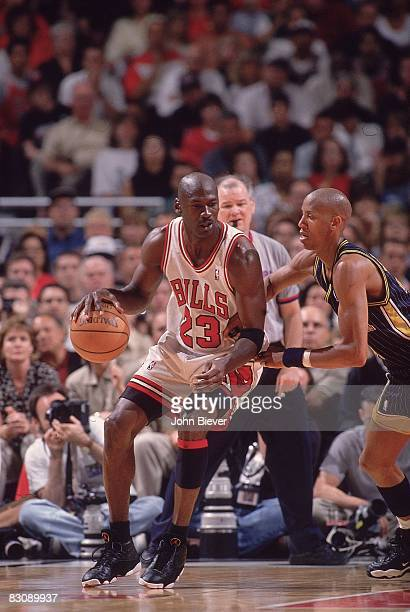 NBA Eastern Conference Finals Chicago Bulls Michael Jordan in action vs Indiana Pacers Reggie Miller Game 1 Chicago IL 5/17/1998 CREDIT John Biever