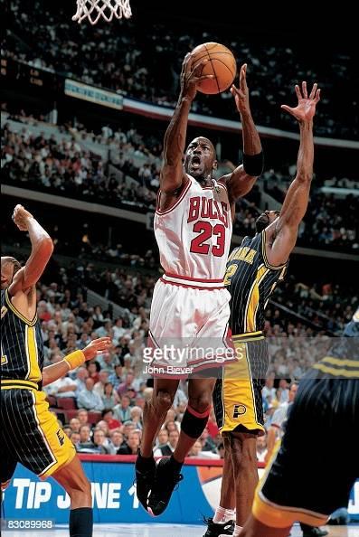 Chicago Bulls Michael Jordan in action, layup vs Indiana ...