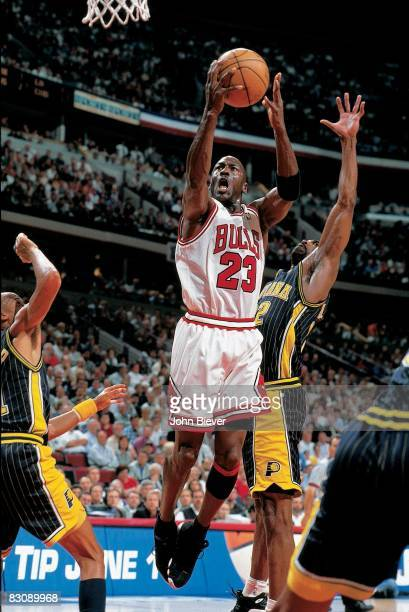 NBA Eastern Conference Finals Chicago Bulls Michael Jordan in action layup vs Indiana Pacers Game 2 Chicago IL 5/19/1998 CREDIT John Biever