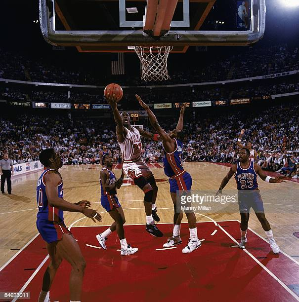 NBA Eastern Conference Finals Chicago Bulls Michael Jordon in action shot vs Detroit Pistons Vinnie Johnson Chicago IL 5/26/1990 CREDIT Manny Millan