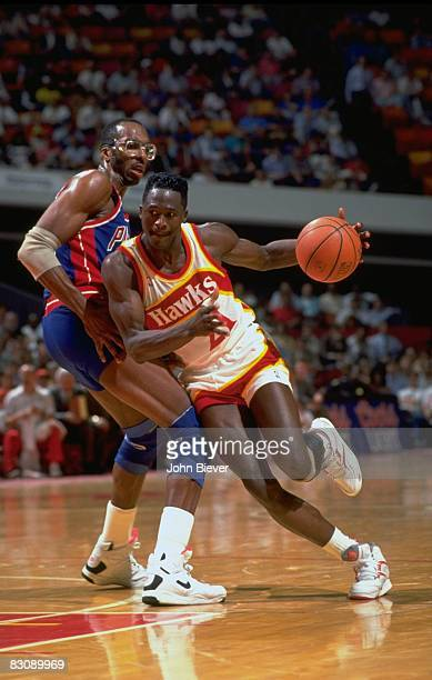 NBA Eastern Conference First Round Atlanta Hawks Dominique Wilkins in action vs Detroit Pistons John Salley Game 5 Auburn Hills MI 5/5/1991 CREDIT...
