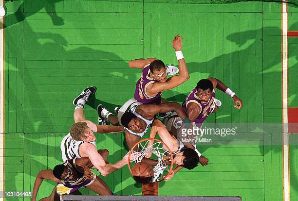 NBA Finals Aerial view of Boston Celtics Larry Bird Robert Parish and Kevin McHale in action vs Los Angeles Lakers Boston MA 5/27/19855/31/1985...