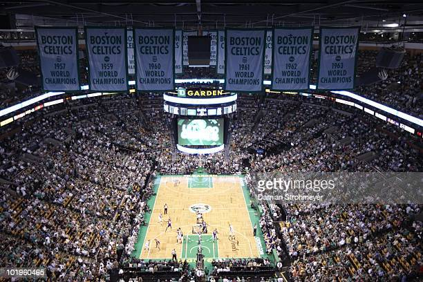 NBA Finals Aerial view of championship banners and TD Garden during Game 3 between Boston Celtics and Los Angeles Lakers Boston MA 6/8/2010 CREDIT...