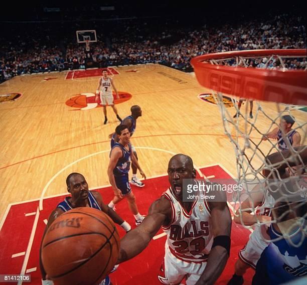 Basketball: NBA Finals, Aerial view of Chicago Bulls Michael Jordan in action, layup vs Utah Jazz, Game 1, Chicago, IL 6/1/1997