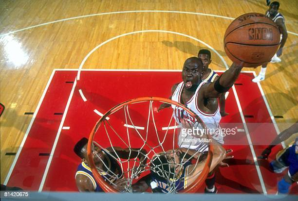 Basketball NBA Finals Aerial view of Chicago Bulls Michael Jordan in action making dunk vs Los Angeles Lakers Game 2 Chicago IL 6/5/1991
