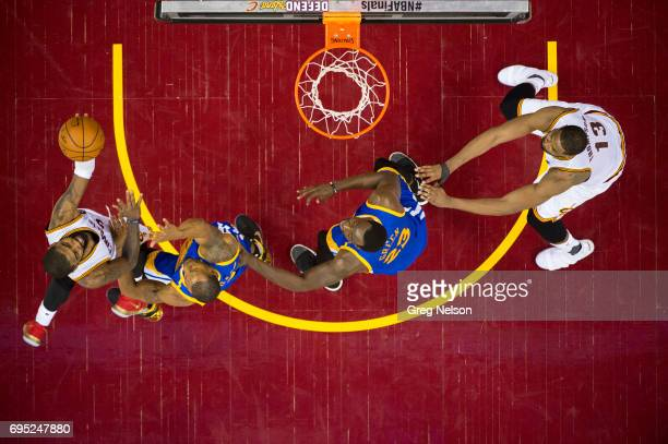 NBA Finals Aerial view of Cleveland Cavaliers Kyrie Irving and Tristan Thompson in action vs Golden State Warriors Draymond Green and Andre Iguodala...