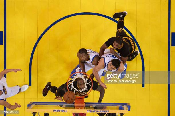 NBA Finals Aerial view of Cleveland Cavaliers LeBron james and Tristan Thompson in action vs Golden State Warriors Kevin Durant and Zaza Pachulia at...