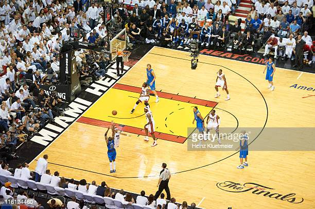 NBA Finals Aerial view of Dallas Mavericks Jason Terry in action shot from threepoint range vs Miami Heat Eddie House at American Airlines Arena Game...