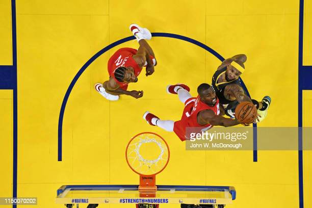 NBA Finals Aerial view of Golden State Warriors DeMarcus Cousins in action vs Toronto Raptors Serge Ibaka at Oracle Arena Game 6 Oakland CA CREDIT...