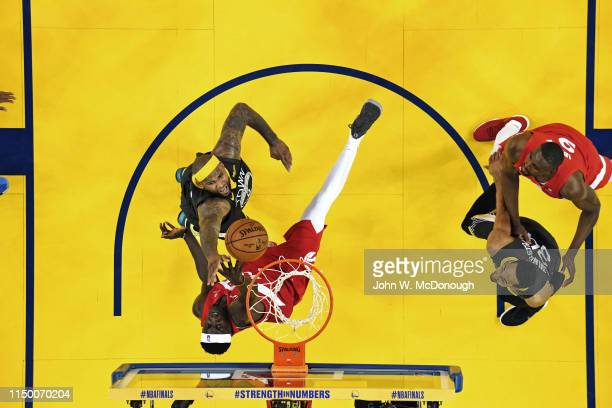 NBA Finals Aerial view of Golden State Warriors DeMarcus Cousins in action vs Toronto Raptors Pascal Siakam at Oracle Arena Game 6 Oakland CA CREDIT...