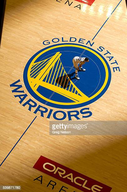 NBA Finals Aerial view of Golden State Warriors Stephen Curry at halfcourt standing on Warriors logo during game vs Cleveland Cavaliers at Oracle...