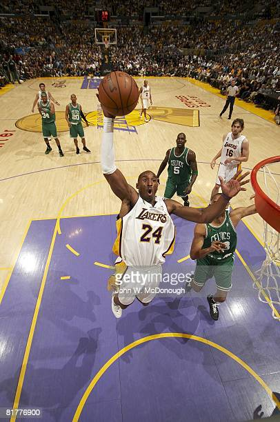 NBA Finals Aerial view of Los Angeles Lakers Kobe Bryant in action dunk vs Boston Celtics Game 5 Los Angeles CA 6/15/2008 CREDIT John W McDonough