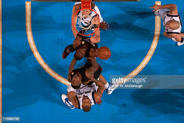 NBA Finals Aerial view of Miami Heat Dwyane Wade in action vs Dallas Mavericks Dirk Nowitzki at American Airlines Center Game 5 Dallas TX CREDIT John...