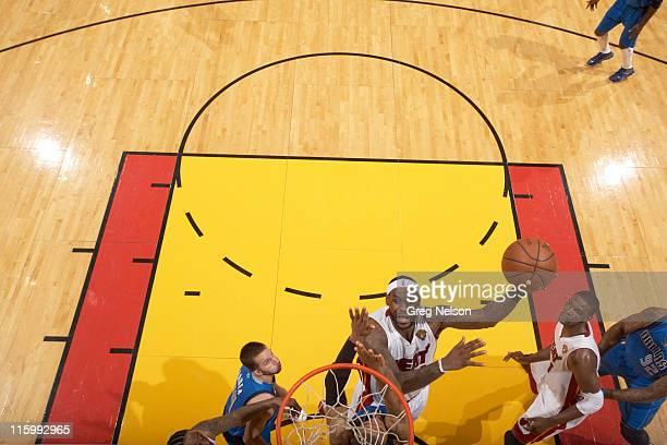 NBA Finals Aerial view of Miami Heat LeBron James in action vs Dallas Mavericks at American Airlines Arena Game 6 Miami FL CREDIT Greg Nelson