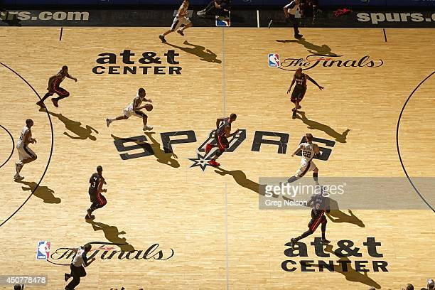 NBA Finals Aerial view of San Antonio Spurs Kawhi Leonard in action vs Miami Heat at ATT Center Game 5 San Antonio TX CREDIT Greg Nelson