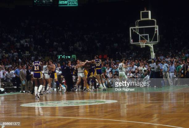 NBA Finals Boston Celtics and Los Angeles Lakers players in fight on court during Game 4 at Boston Garden Boston MA CREDIT Dick Raphael