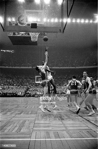 NBA Finals Boston Celtics Bill Russell in action shot vs St Louis Hawks at Boston Garden Boston MA CREDIT Richard Meek