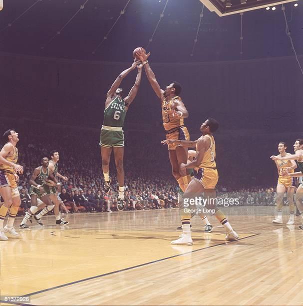 Basketball NBA Finals Boston Celtics Bill Russell in action vs Los Angeles Lakers Wilt Chamberlain Inglewood CA 4/23/19694/25/1969