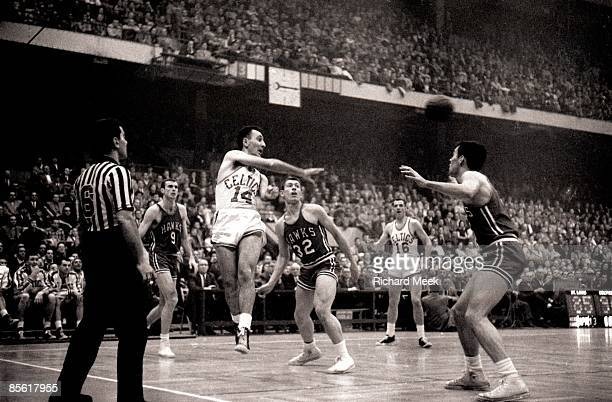 NBA Finals Boston Celtics Bob Cousy in action making pass vs St Louis Hawks Boston MA 3/30/19574/13/1957 CREDIT Richard Meek
